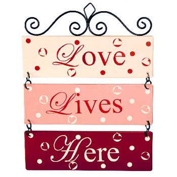 Love Lives Here Metal Sign