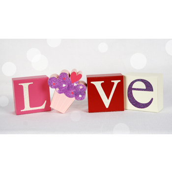 Cupcake Love Wooden Block Letters