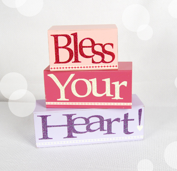 Valentines Bless Your Heart Wooden Block Letters