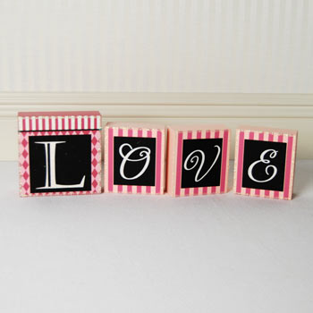 Love Pink Argyle Valentines Wooden Block Letters
