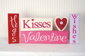 Hugs and Kisses Valentine Wishes Block Letters