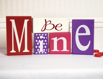Be Mine Valentines Day Wooden Blocks