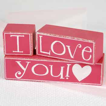 I Love You Wooden Block Set