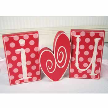 "I ""heart"" U wooden block set"