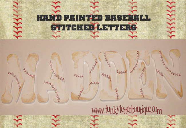 Baseball Stitched Painted Wooden Letters