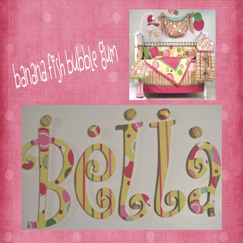 Bubble Gum Polka Dot Painted Nursery Wall Letters