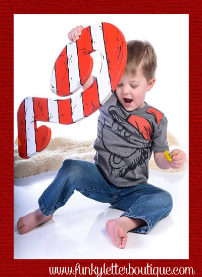 Cat in the Hat Striped JUMBO Birthday Party Number