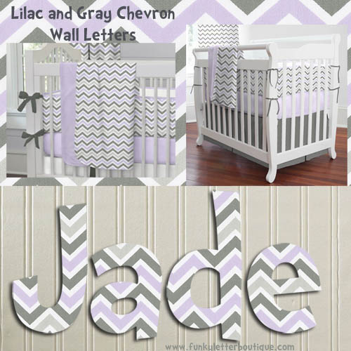 Chevron Lilac and Slate Gray Painted Wall Letters
