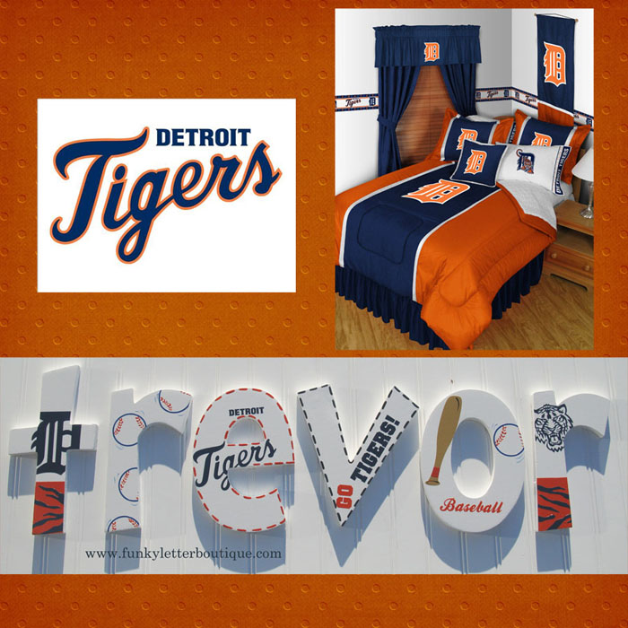 Detroit Tigers Baseball Hand Painted Wall Letters