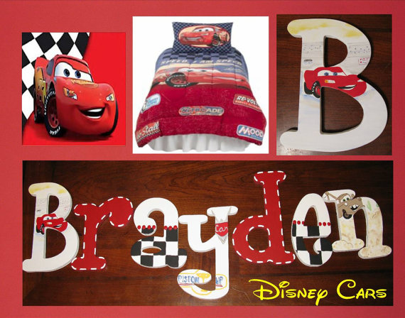 disney pixar cars painted wall letters