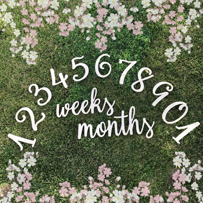 DIY Milestone Photo Props Wooden Numbers With Weeks and Months Sign
