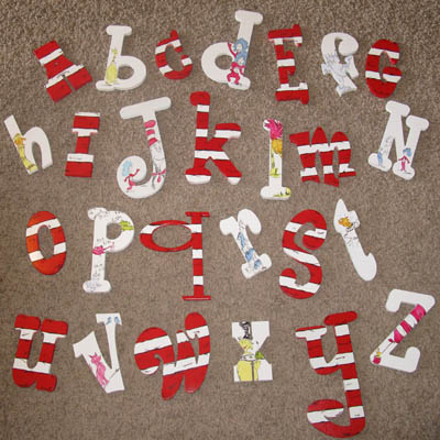 Dr. Seuss Hand Painted Whimsical Alphabet Wooden LettersSet