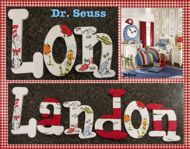 Dr Seuss Character Letters With Cat In The Hat Stripes