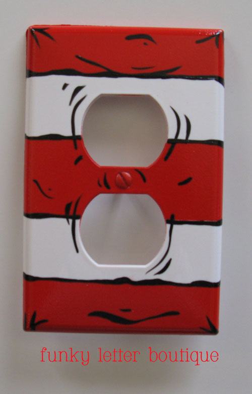 Cat In The Hat Striped Wall Outlet Plate