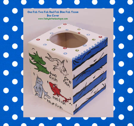 Dr. Seuss One Fish Two Fish Hand Painted Tissue Box Cover
