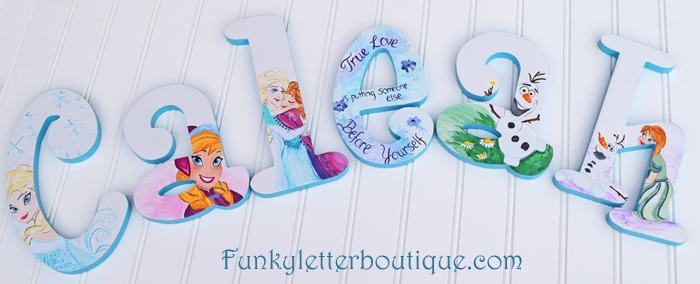 Disney Frozen Painted Wall Letters With Anna Elsa and Olaf