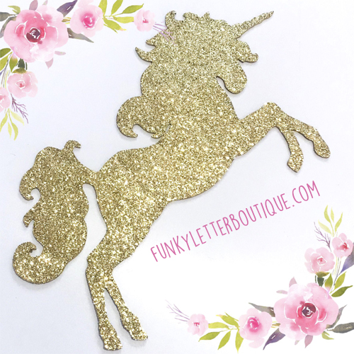 glitter unicorn wooden cut out shape
