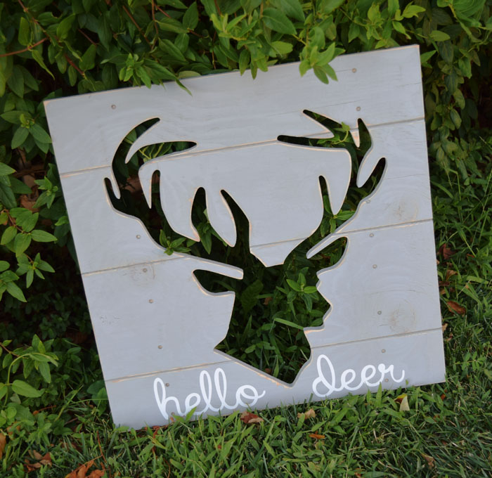 Hello Deer Silhouette Plank Board Wall Art