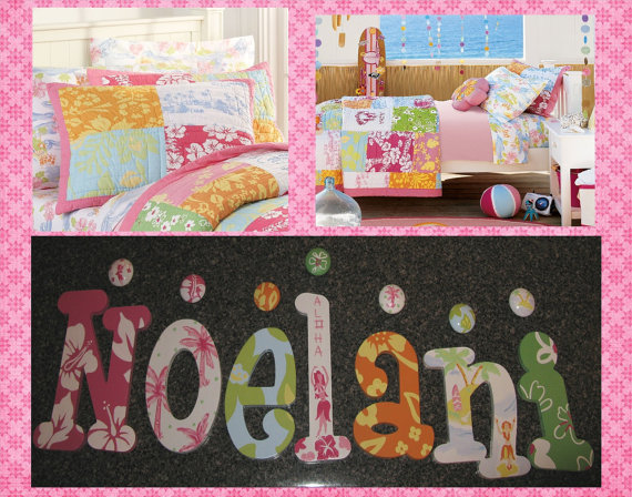 Island Surf Pink Girl Wall Letters