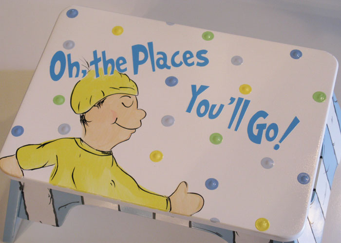 Dr. Seuss Oh The Places You'll Go Blue Stool