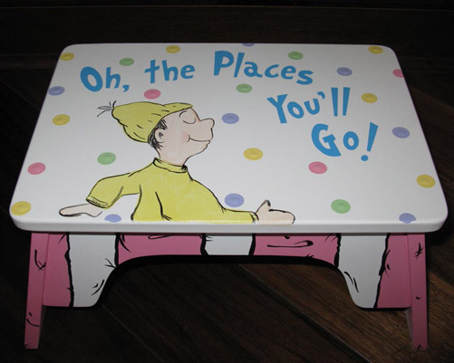 Dr. Seuss Oh the places you'll go Pink step stool-dr. seuss, cat in the hat step stool, seuss, stool,Dr. Seuss Nursery Wall Art, Dr. Seuss Nursery ideas, Dr. Suess lettering, pottery barn kids dr seuss bedding, dr seuss bedding, dr seuss nursery decorations, m2m pottery barn kids dr seuss, Hand Painted Dr Seuss Art, Painted Dr Seuss Decor, Dr Seuss Painting, Dr. Suess, Dr Seus, cat in the hat, dr seuss wall art, hand painted dr seuss, oh the places you'll go, oh the places youll go, you'll move mountains kid