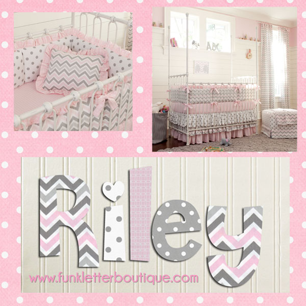 Pink And Gray Chevron Nursery Letters