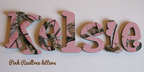 Pink Realtree Camo Girls Wall Letters