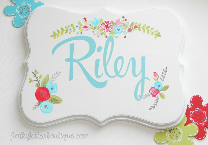 Shabby Chic Floral Name Sign