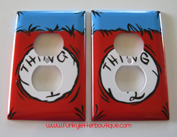 Dr. Seuss Thing 1 Thing 2 Wall Outlet Plate
