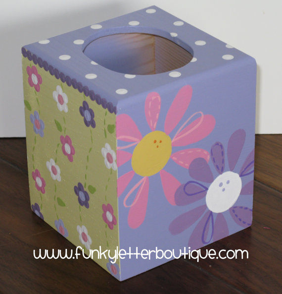 Daisy Garden Party Lavender Tissue Box Cover
