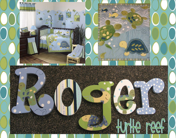Turtle Reef Hand Painted Wall Letters